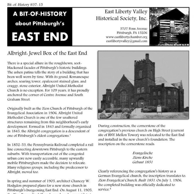 history of Albright United Methodist Church